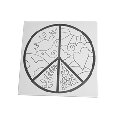 """TILES & PLAQUES Peaceful World 8"""" Party Tile/12 SPO"""