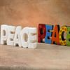 TILES, ETC. PEACE WORD PLAQUE/6 SPO