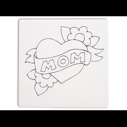 """TILES & PLAQUES.Mom Heart Party Tile  6""""/12 SPO"""