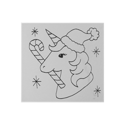 TILES & PLAQUES Unicorn Santa Party Tile/12 SPO