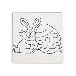 "TILES & PLAQUES Easter Bunny Party Tile 6""/12 SPO"