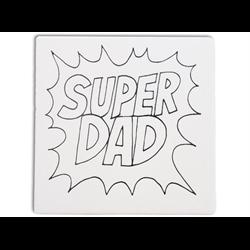 """TILES & PLAQUES Super Dad Party Tile 6""""/12 SPO"""