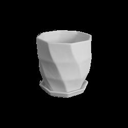 HOME DÉCOR Geometric Waves Flower Pot w/ Tray/2 SPO